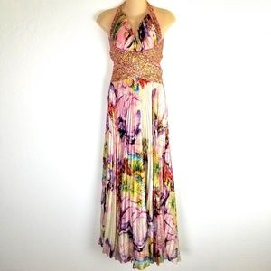 Jovani Colorful 100% Silk pleated Sequined Gown
